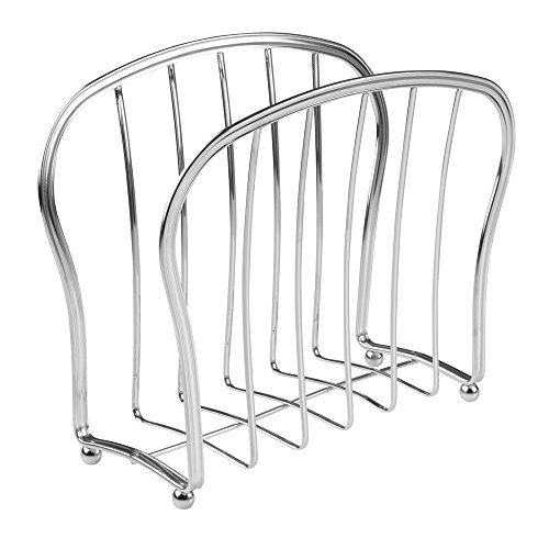 InterDesign York Lyra Newspaper and Magazine Rack for Bathroom, Office, Den - Chrome (Newspaper Storage Container compare prices)