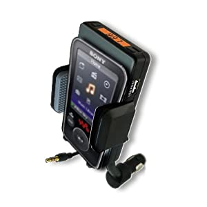 Advanced Car Mount System FM Transmitter & Charger for SONY Walkman Video MP3 and OLED Touchscreen MP3 Players