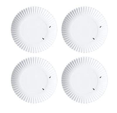 """What Is It?"" Reusable White Appetizer or Dessert Plate with Ant Design, 6 Inch Melamine, Set of 4"
