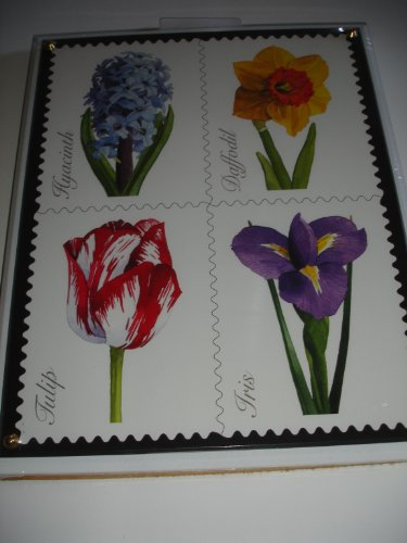 "2005 Licensed U.S. Postage Stamp Art - Crystal Art Satinwood SPRING FLOWERS 8"" X 10"" Plaque - Watercolor Artist Christopher Pullman - 1"