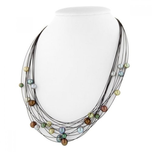 HONORA Sterling Silver and Steel 5-8MM Dark Multi Pearl Necklace