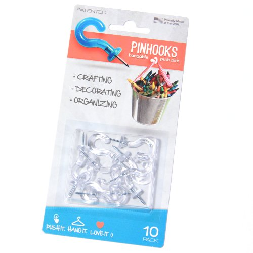Pinhooks 10100 10-Pack Push Pin Wall Hooks, Klear Kindness