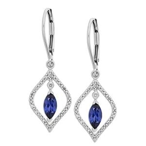 10k White Gold Sapphire in Diamond Frame Drop Earrings