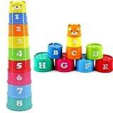 1 セット赤ちゃん子供子供の教育おもちゃフィギュア折りたたみカップ塔文字