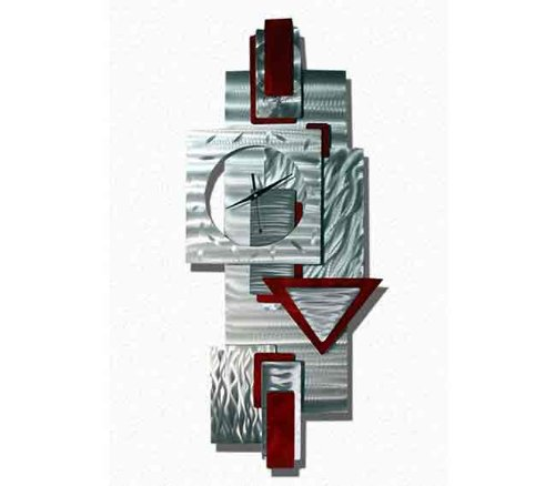 Scarlet Times Abstract Metal Wall Clock, Large Multi-Dimensional Wall Clock in Silver with Red Accents