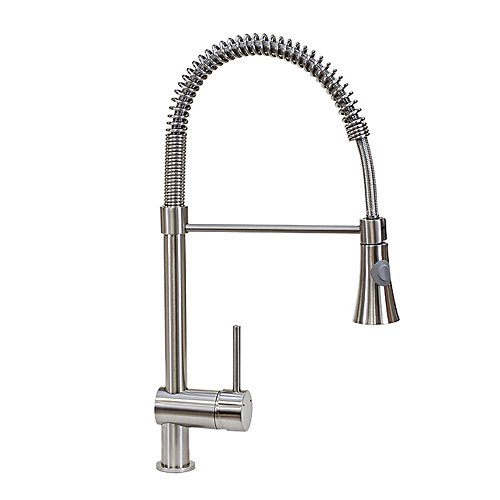 FREUER Lavoro Collection: Pull Down Spray Kitchen Sink Faucet, Brushed Nickel