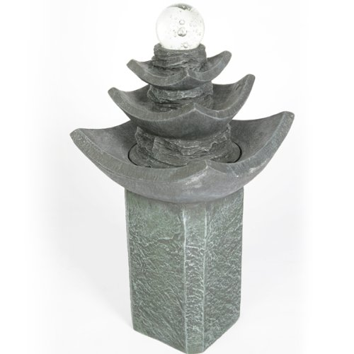 Wild Goose Crystal Ball Pagoda Water Feature with LED Lights