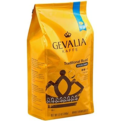 Gevalia Traditional Roast Whole Bean Coffee, 12 Ounce -- 6 per case.