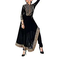 Destiny Enterprise Designer Gorgette Unstitched Black Color Salwar Suit Dress Material for Women