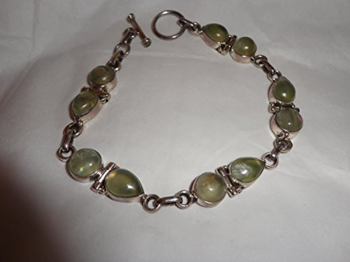 "Spiritually Dance And Protect With Prehnite 7 3/4"" Hinged And Toggled Sterling Bracelet"