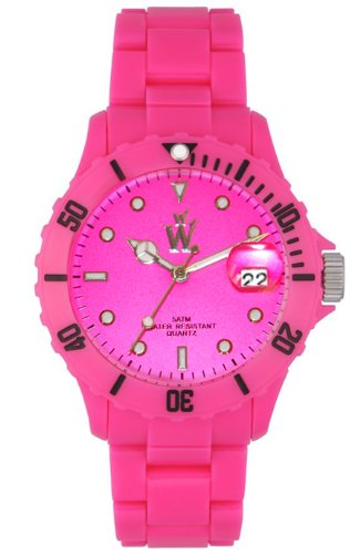 WOW-PINK Women's Neo Ice Plastic pink watch, with Pink Date Display Dial and Pink Bracelet Strap. ideal is a toy, gift watch,or a fashion accessory