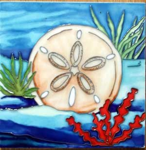 Sand Dollar Decorative Ceramic Wall Art Tile 4x4