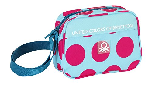 Safta 048399 Benetton Dots Borsa a Tracolla, Colore: Rosa/Blu