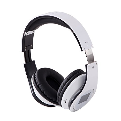 Hde Rechargeable Wireless Bluetooth Over-Ear Foldable Hifi Headphones With Mp3 Player, Fm Radio, Hands Free Calling And Lcd Display (White)