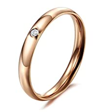 buy Beydodo Stainless Steel Pinkie Ring For Womens (Engagement Rings) 3Mm Skinny Rose Gold Size 7