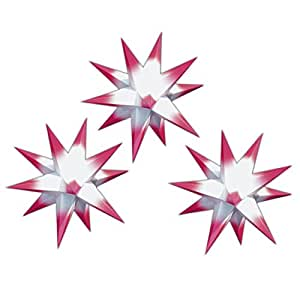3er set beleuchtete sterne aus papier wei mit weinroten spitzen 3d weihnachtssterne f rs. Black Bedroom Furniture Sets. Home Design Ideas