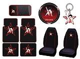Betty Boop Star 9pc Combo Set Front & Rear Floor Mats, Seat Covers, Steering Wheel Cover, CD Visor, Keychain Plus Bonus License Plate Frame