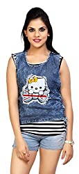 Carrel Brand Imported Denim Fabric Stylish sleevless Top with Kitty Printed Blue Colour Women L Size.
