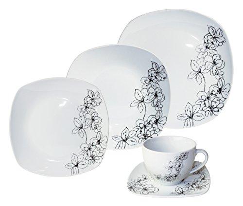 Kaffee- und Tafelservice TOSCA, 30-teilig, Porzellan, eckig, schwarz, design I love®