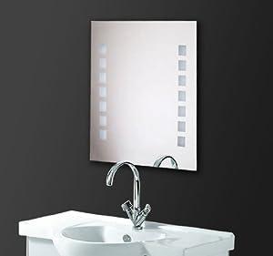 Outsunny specchio da bagno con luci led montaggio a for Specchio da parete camera amazon