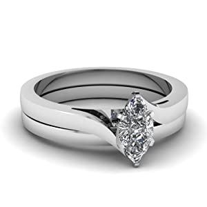 Tapered Serenity Engagement Bridal Rings Set 1 Ct Marquise Cut Solitaire Diamond 14K GIA Certificate # 2166120358