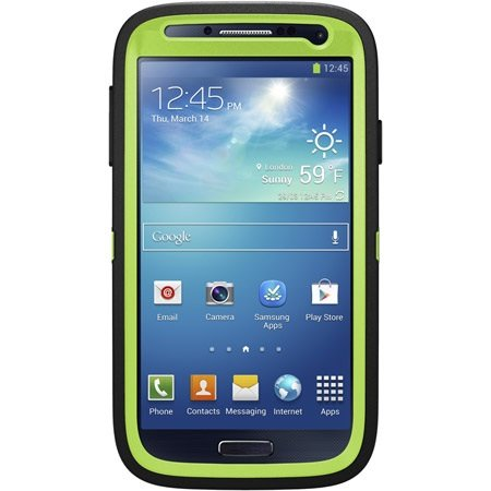Otterbox Defender Series For Samsung Galaxy S4 - Retail Packaging - Black / Glow Green
