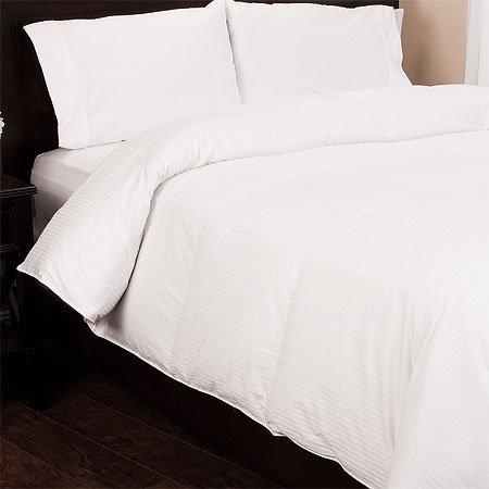 Egyptian Cotton Damask Stripe Down Alt Comforter, Full/Queen