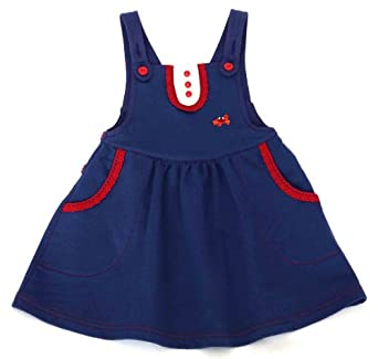 Green Nippers Baby Girl's Organic Cotton Dungaree Style Pinafore Short Sleeve Dress Blue 0 - 3 Months