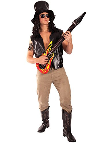 Slash Guns N Roses Metal Rock Fancy Dress 1980s Costume with Hat and Tattoo