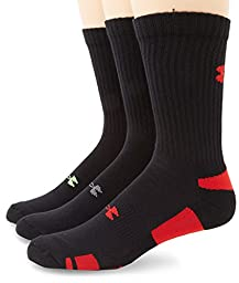 Under Armour Men\'s HeatGear Crew Socks (3 Pair), Black/Assorted Colors, Medium