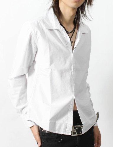 お兄系 シャツ メンズ【キレイめブロード無地スキッパーシャツ】キレイめ キレイめシャツ ホワイトL