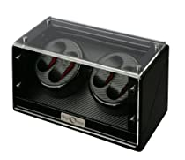 Diplomat 31-476 Quad Black Wood Finish  Watch Winder with Black Carbon Fiber Interior and Japanese Mabuchi Motor  Watch Winder