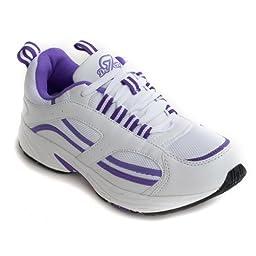 Dr Zen Lori Women\'s Therapeutic Diabetic Extra Depth Shoe: White/Purple 6 Wide (E-3E) Lace