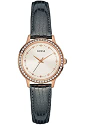 GUESS Women's Rose Gold-Tone Glamorous Leather Watch