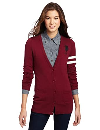 US Polo Assn. Juniors Cardigan Sweater, Wineberry, X-Large