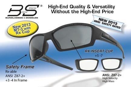 Body Specs MT-3 BLK FRAME/RX-CUP Matt Black Safety Frame Sunglasses with Rx Cup MT-BLK FRAME/RX-CUP