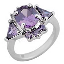 buy Pixel Jewelry 1985 - 10Kt Solid White Gold Filled Purple Amethyst Zircon Gem Lady Engagement Ring Size6