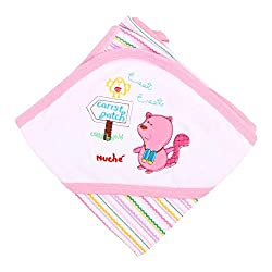 Ala Mode Creation Soft Hosiery Cotton Swaddlers Wrapper With Hood Pink Piping