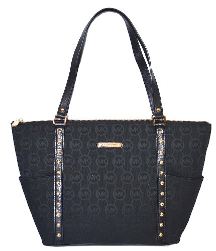 Michael Kors Jet Set Studded East-West Tote Monogram Jacquard Black