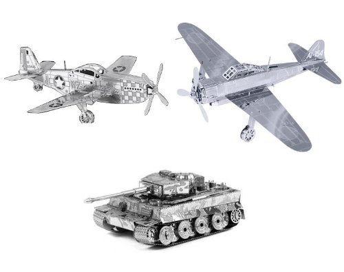 Nano Puzzle Collection - WW2 Theme- P-51 Mustang, Zero Fighter & Tiger 1 Tank