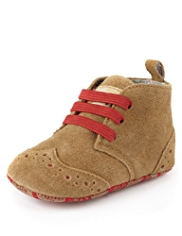Suede Lace Up Brogue Pram Shoes