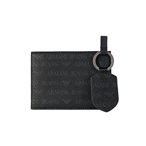 Armani-AJ-Wallet-with-Eight-Card-Slots-and-Key-ring-Gift-Set-06V55J4-Black