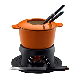 Rachael Ray Cast Iron 1-1/2-Quart Fondue Set, Orange