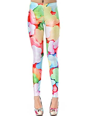 PrettyGuide Women Colorful Candy Print Stretchy Bodycon Polyester Tights Leggings
