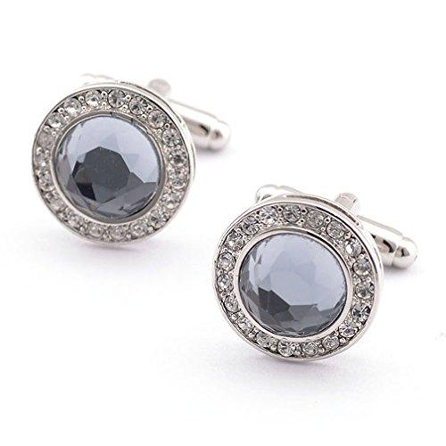 Super-Shiny-Swarovski-Crystal-Circular-Cufflinks-Elegant-Style