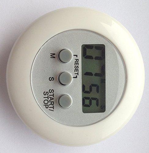 careforyou® machen Elektronische LCD Display runden Digital Kochen Timer Küche Timer Countdown Uhr Alarm Stoppuhr Maximale bis 99Minuten 59Sekunden weiß