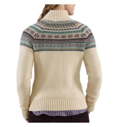 Carhartt Women's Folk Pattern Cardigan Sweater Oatmeal Medium