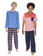2 Pack Pure Cotton Striped & Checked Pyjamas