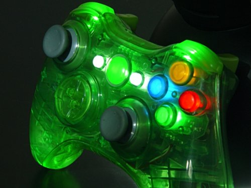 Clear Green Xcm Led Lighted Xbox 360 Wireless Controller Shell (Custom Mod)