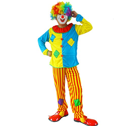 RIY Novelties Clown Complete Costume for Unisex Adult, Funny and Goofy #R0014 (Professional Clown Shoes)